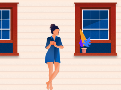 Thinking about the old days over Coffee old days window coffee think illustration