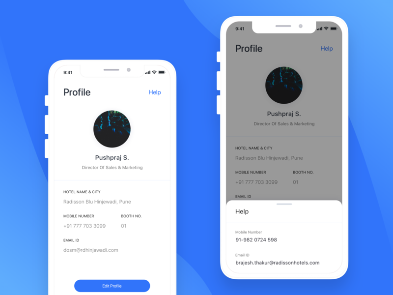 Radisson Booth Profile hotel app help profile design mobile app