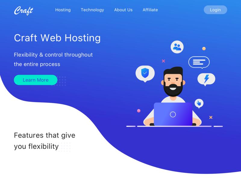 Craft in web hosting siteground craft cms ui design illustration branding ui design landing page