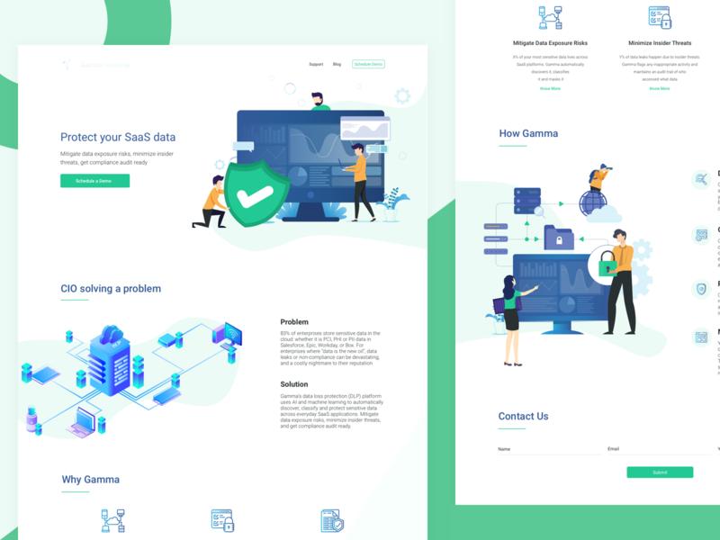 Data Leak Prevention Platform cryptocurrency data network design ui design vector concept landing page illustration