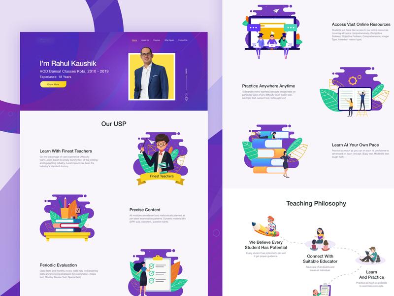 Design Exploration for a Education Startup ui branding dashboard concept education educational education website ui design landing page