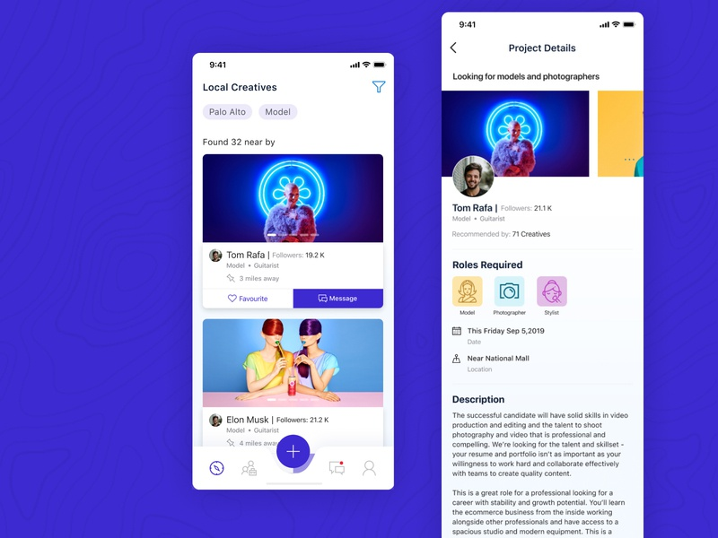 Connective Landing and Project detail page influencer social network social app socialmedia branding concept mobile app landing page