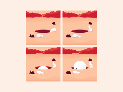 Hole absurd comic illustration