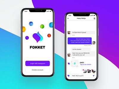 Fokket datingapp chat instagram date app vector logo ux ui