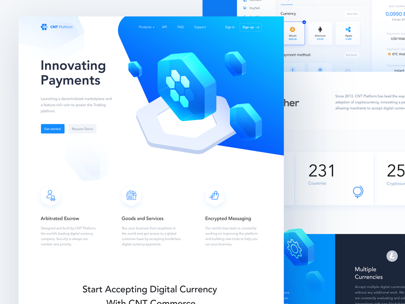 CNT Platform ux ui payment logo landing page landing innovate illuatration hexagon desktop blockchain art 3d