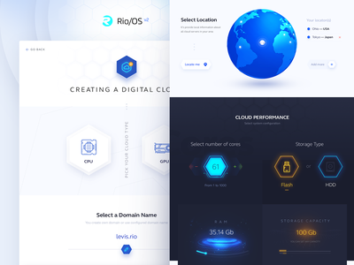 RioOS Creating Cloud create landing page hexagone ux ui blue dark performance ram gpu cpu earth cloud service cloud app digital operating system os rio
