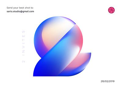 2 Dribbble Invites Giveaway glossy gradient blue two illustraion identity invite 2 invite