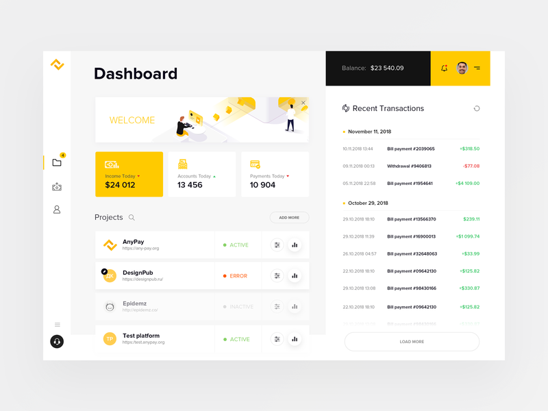 Anypay Dashboard deposit profile transaction illustration graphicdesign logo branding capital ux ui user money pay dashboad