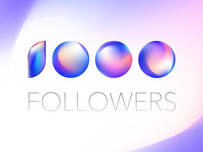 1000 Followers 1000 sphere illustration mesh color gradient follower dribbble