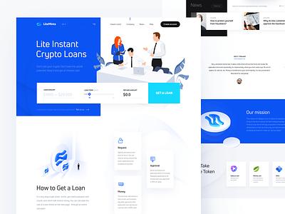 Lite Loans ui ux landing capital illustration vector identity bitcoin blockchain graphicdesign branding design loan