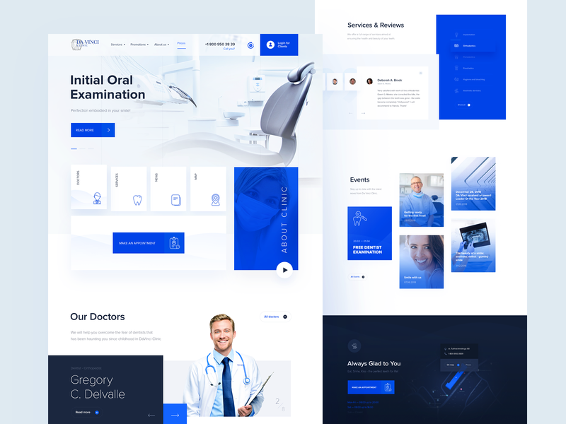 Dental Clinic blue tooth typography design branding ui doctor landing page landing dentist dental clinic