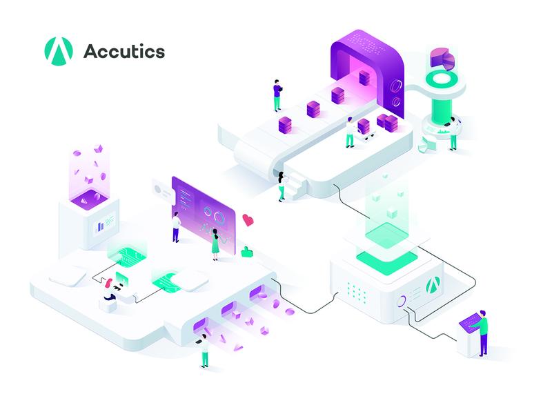 Accutics Services illustration social database statistics platform creator code blockchain capital logo vector illustration