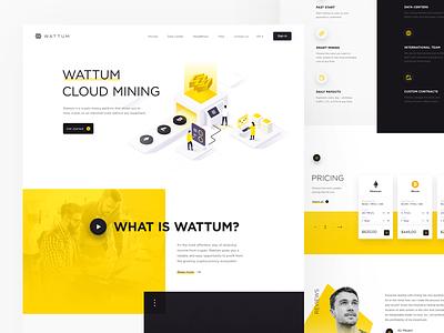 Wattum webpage vector webdesign mine landing bitcoin ux ui blockchain capital branding illustration design
