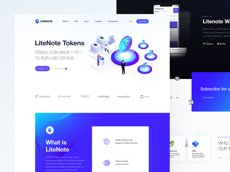 LiteNote ux ui design exchange coin stable token pay vector illustraion blockchain ltc ltn note lite