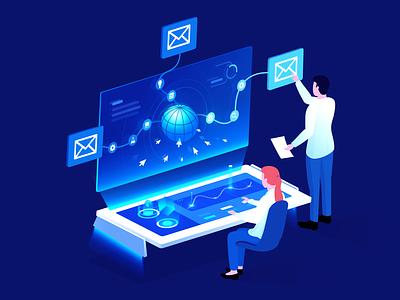 Automated Outbound Sales illustration btc sale pay mail hitech blue vector illustrator design
