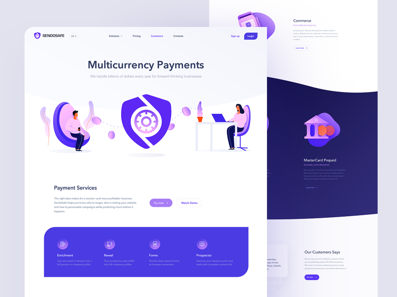 SendoSafe Landing Page landing icon vector design branding capital illustraor logodesign logo web illustration blockchain graphicdesign payment mastercard visa bank