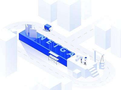 NETGATE Under Construction illustration vector logo capital blockchain code creator platform statistics database social