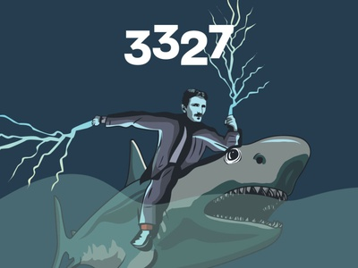 Tesla&Shark graphic design design illustration