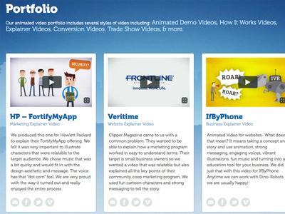 Video Portfolio Page portfolio website web design video