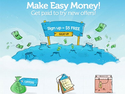 Sweepstakes Site Home Page web design cartoon money