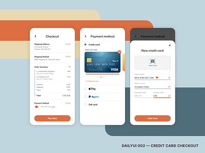 DailyUI 002 - Credit Card Checkout design app ui @daily-ui