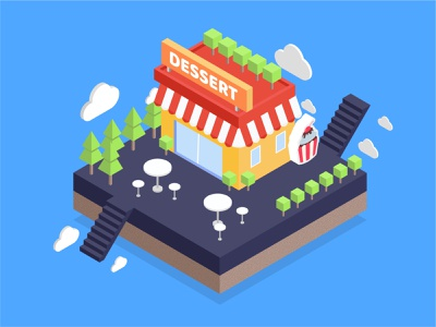 dessert shop brand design branding illustration shop