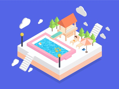 swimming pool white cloud pool water child green pink purple colors colorful brand branding illustration