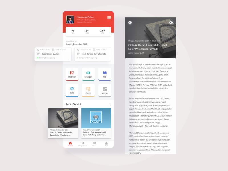 myUMM Student App redesign - university application student university learning learning app ux ui simple interface inspiration minimal design app design appdesign app