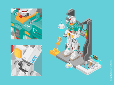 Robot - Isometric Vector