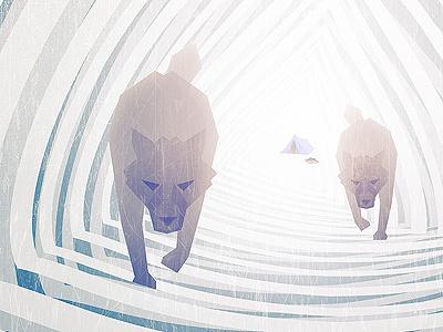 Frostbite wolves ice poster illustration fringe focus