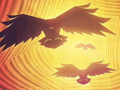 Birds of Prey birds attack predators poster illustration fringe focus
