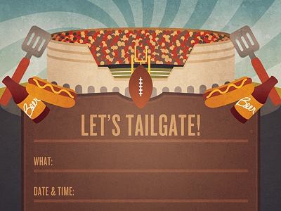 Tailgate tailgate football beer hot dog grill party sports invite illustration card
