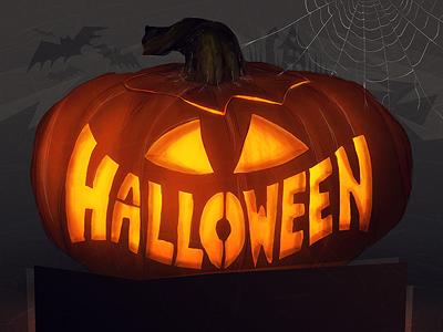 Halloweenin' halloween pumpkin scary orange black holiday spider web bat card jack o lantern carve illustration