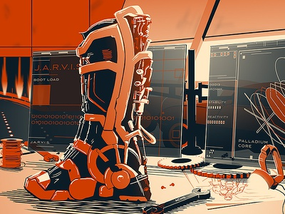 Iron Man Poster | The Desk of Mr. Stark iron man tony stark movie movie poster print screen print illustration