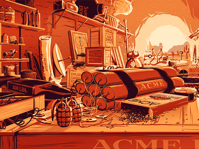 The Desk of Mr. Coyote desk illustration metallic poster desert cave acme coyote