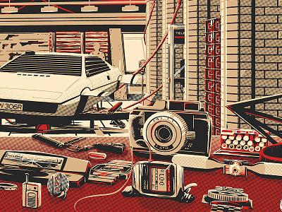 The Desk of Q (007 Poster) poster spy screen print desk watch illustration car gadget q bond 007
