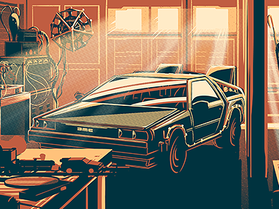 Desk of Dr. Brown delorean print poster movie marty doc brown back to the future