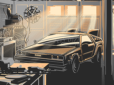 Desk of Dr. Brown Metallic Variant illustration print poster movie marty doc brown back to the future