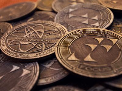 Fringe Focus Wooden Coins wood wooden coin token seal emblem carve engrave stain logo business card