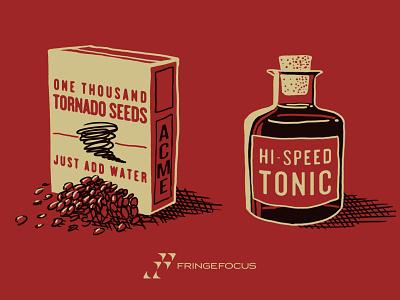 ACME Tornado Seeds & Hi-Speed Tonic acme corporation cartoon illustration drawing design red packaging