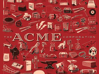 The ACME Corporation acme corporation illustration drawing poster print kickstarter rocket bomb cartoon