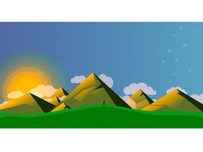 Sunset In The Mountains shadow minimalism sunset mountains mountain-tops design illustration concept