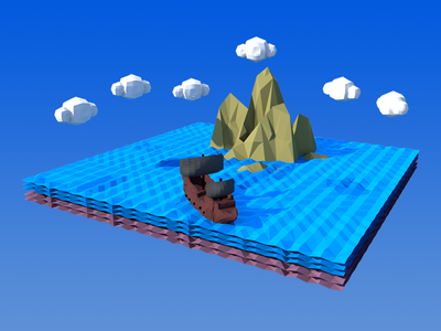 Low Poly Ship Sailing