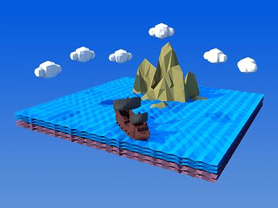 Low Poly Ship Sailing ship concept maya