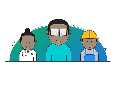 AnyWork app illustration doctor engineer mobile app concept illustration