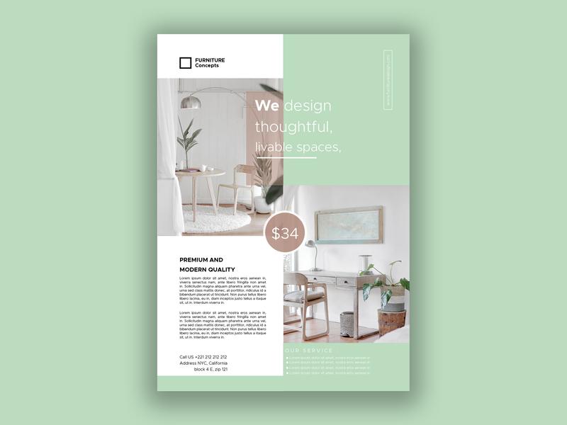 Flyer Furniture real estate creative furniture flyer ui design