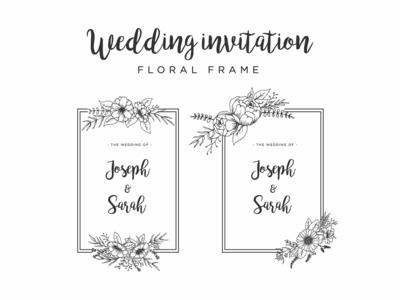 Handdrawn Floral Frame Wedding