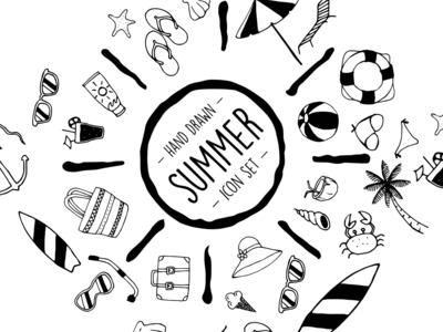 Hand Drawn Summer Icon Set