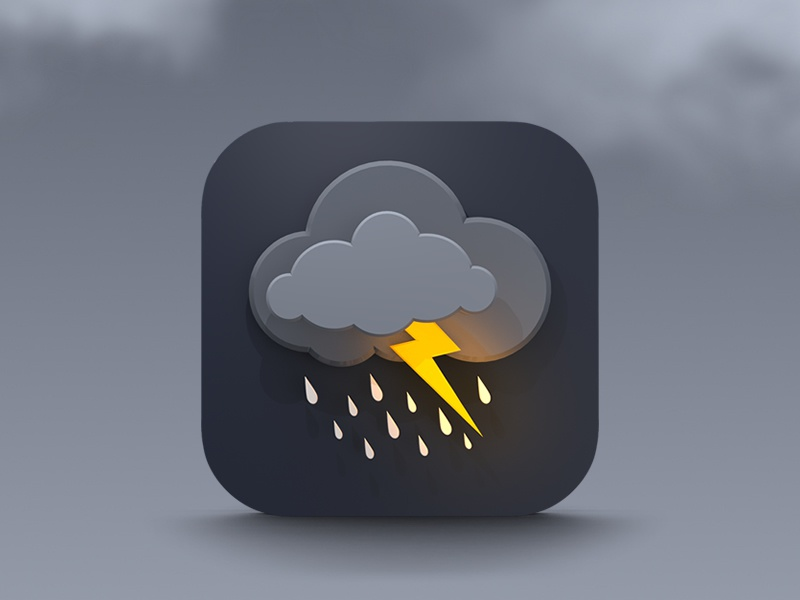 Final weather icon.  icon icons ios weather storm lightning apple branding creative ios7 iphone