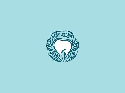 GreenDent logo turqoise green wheat natural dental care dental logo tooth negative space for sale branding design vector logo